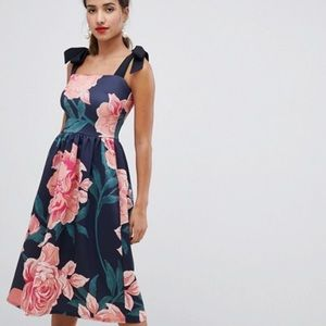 ASOS - NWT True Violet floral tie shoulder dress